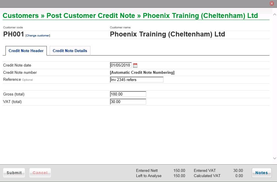 Post Sales Credit Note