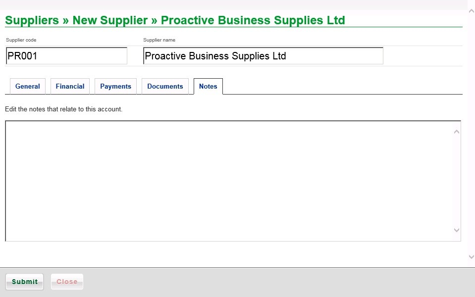 Suppliers Maintenance - Add New, Edit And View