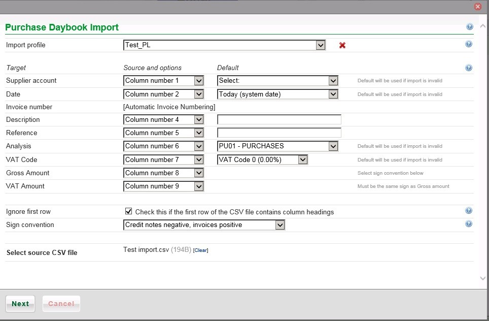 Purchase Daybook Import