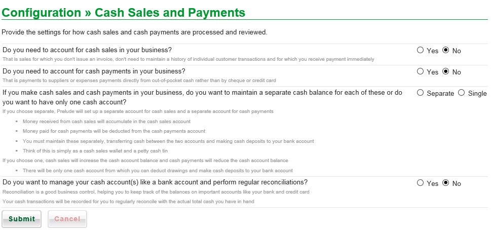 Configure Cash Sales And Payments