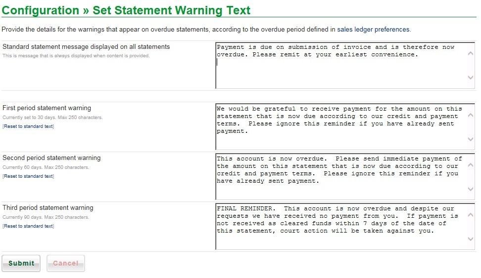 Set Standard Statement Messages