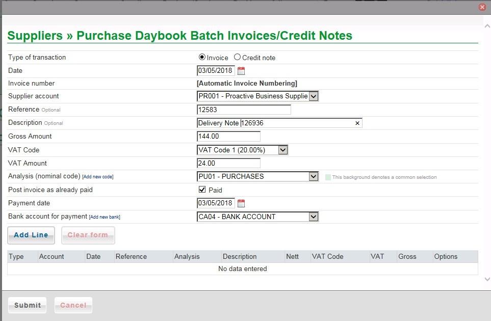 Purchase Daybook Batch Input