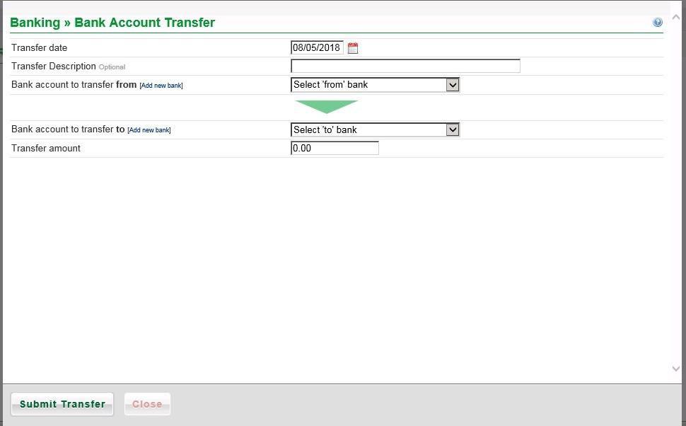 Transfer Amounts Between Bank Accounts
