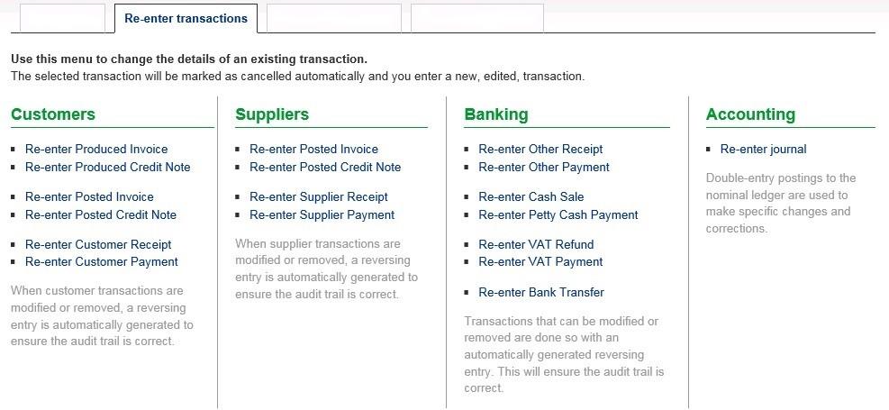 Re-Enter Transactions