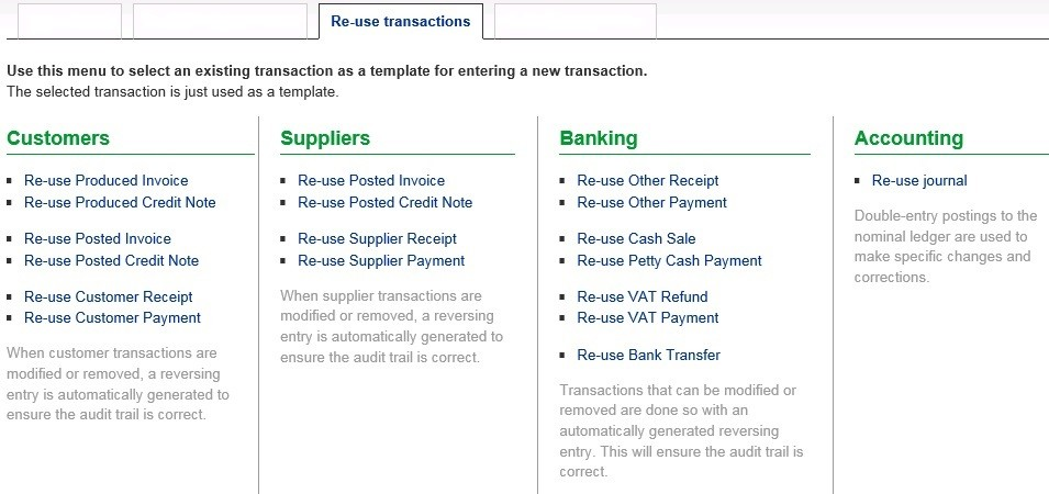 Re-Use Transactions