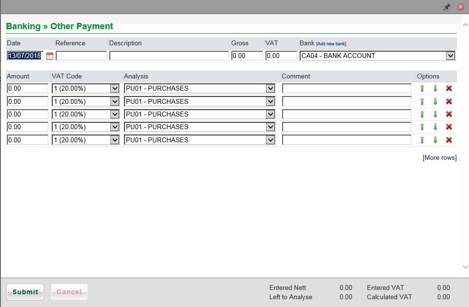 Other Payment (Multiple Line Analysis) - Nominal