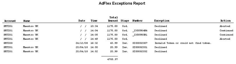 Sales Ledger - Adflex Transaction And Exceptions Reports