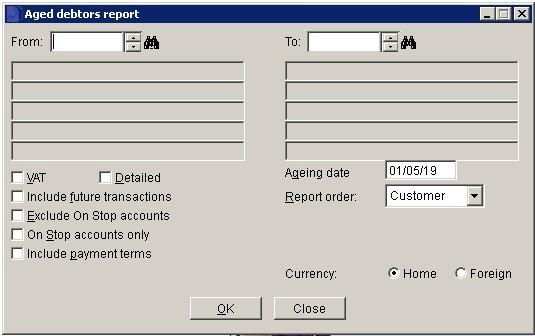 Sales Ledger - Aged Debtors Report