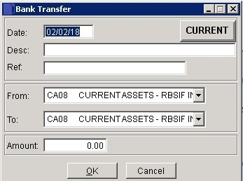 Cash Book - Transfers Between Bank Accounts