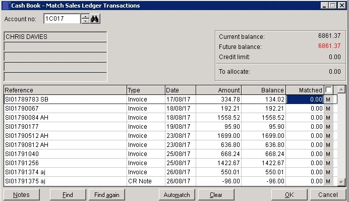 Cash Book - Match Sales And Purchase Ledger Transactions
