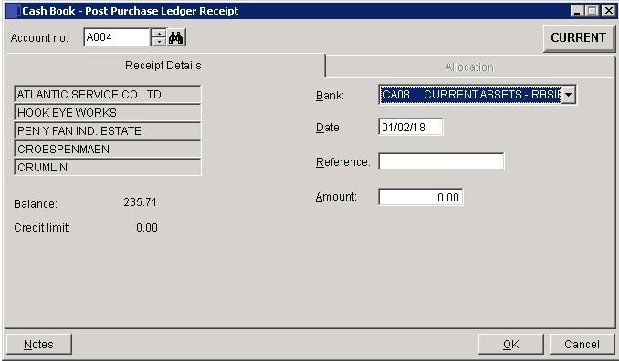 Cash Book - Post A Supplier Refund