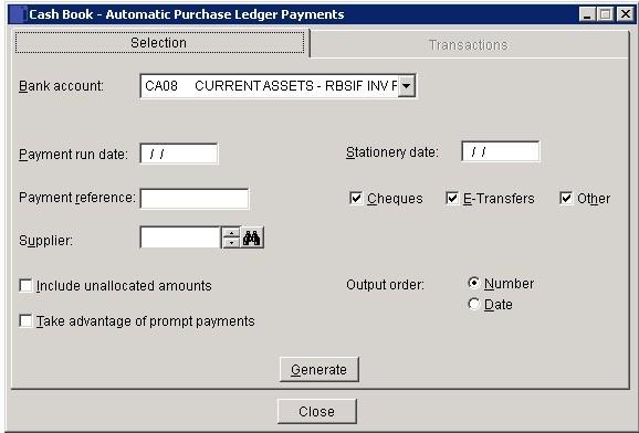 Cash Book - Purchase Ledger Batch Payments