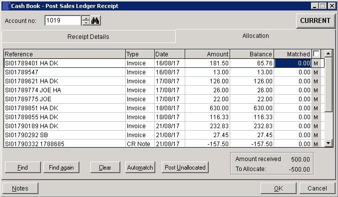 Cash Book - Post Sales Ledger Receipts