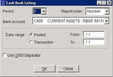 Cash Book - Transactions Report