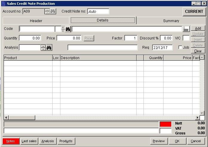 Sales Ledger - Produce Credit Notes