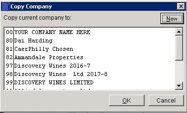 File Menu - Create New Company (Or Copy Existing)