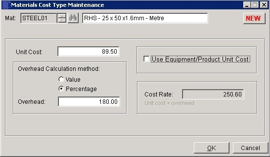 Costing - Create Or Amend Cost Codes