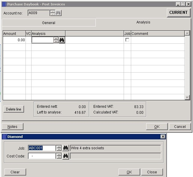 Costing - Enter Job Supplier Invoices