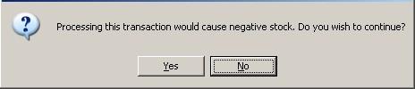 Warning - Negative Stock