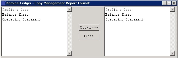 Copy Management Reports Formats