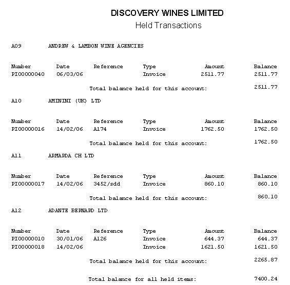 Purchase Ledger - Held Transactions Report