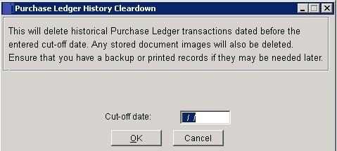 Purchase Ledger - Cleardown History