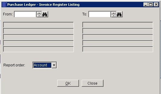 Purchase Ledger - Register Invoices And Credits Report
