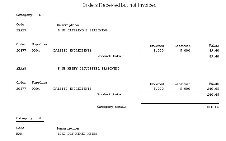 POP - Orders Received But Not Invoiced Report