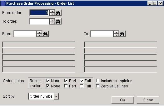 POP - Purchase Order List