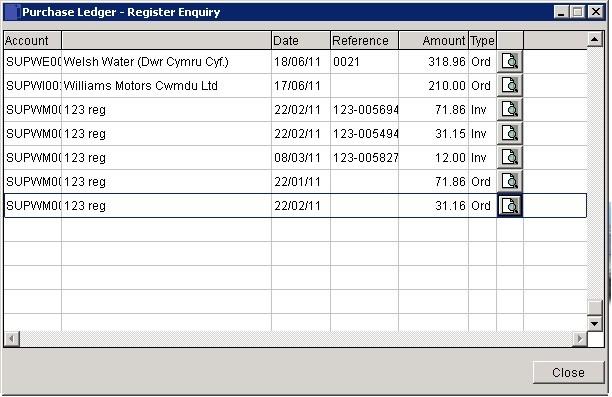 Purchase Ledger - Register Enquiry