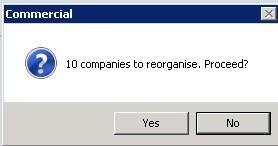 File Menu - Reorganise All Databases - Company 00