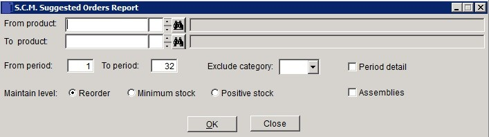 SCM - Suggested Purchase Orders