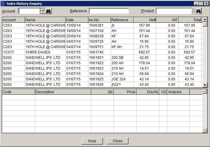 Sales Ledger - View Transaction History