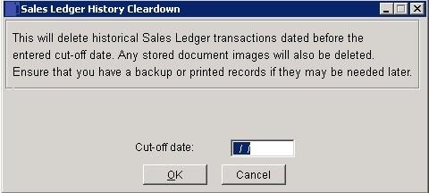 Sales Ledger - History Cleardown