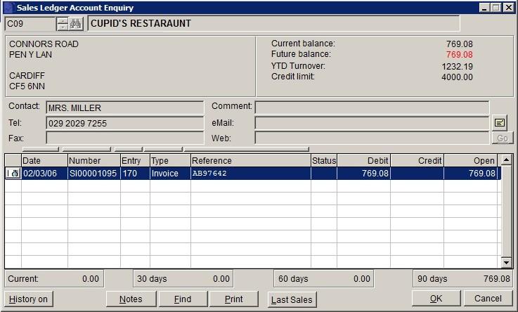 Sales Ledger - Account Enquiry