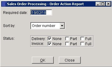 SOP - Orders By Customer Required Date (Action) Report