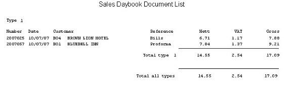 Sales Ledger - List Sales Documents