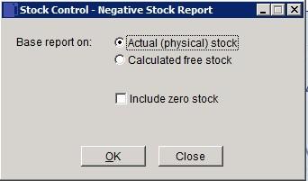 Stock - Negative Quantities Report