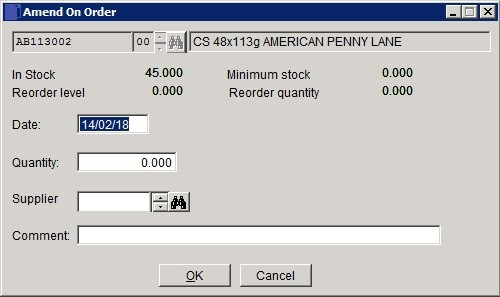Stock - Amend 'On Order' Quantity