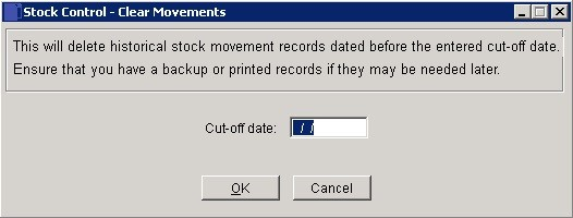 Stock - Cleardown Movements History
