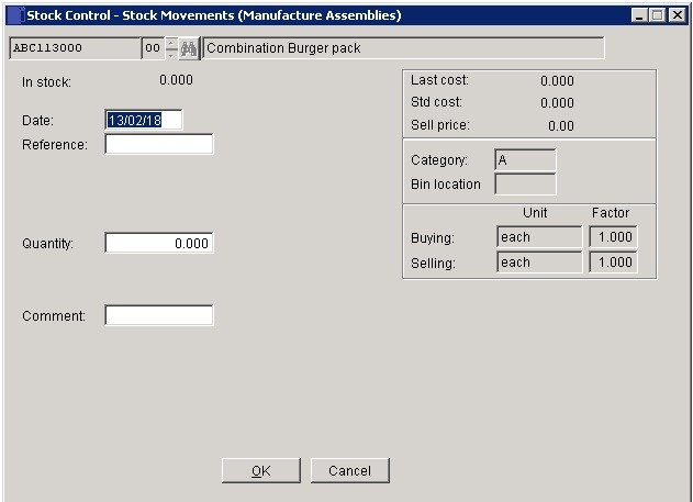 Stock - Issues To Assemblies (Manufactures)
