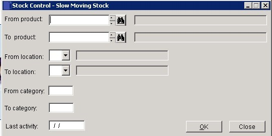 Stock - Slow Moving/Obsolete Report