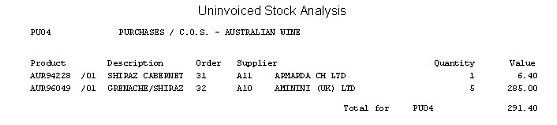 POP - Uninvoiced Stock - Detailed Report