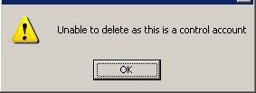 Warning - Delete Nominal Ledger Control Accounts