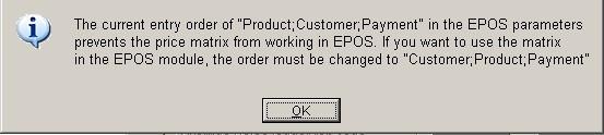Warning - EPOS Price Matrix