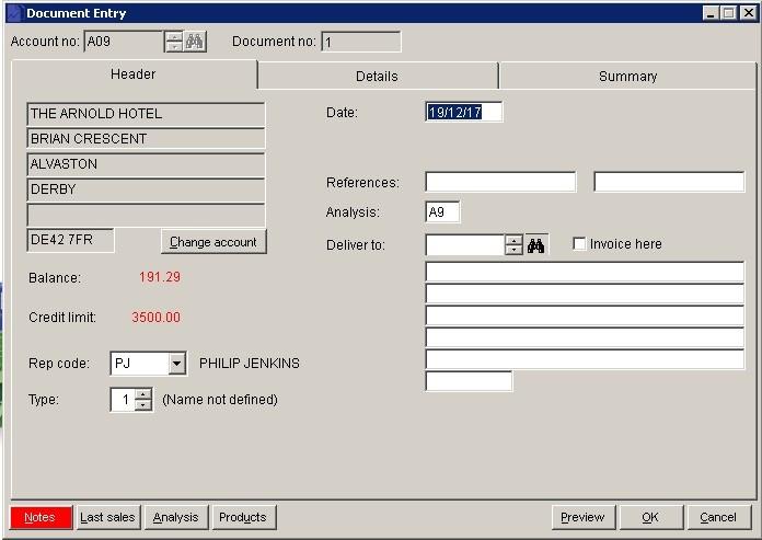 Sales Ledger - Create Sales Documents