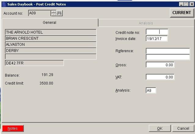 Sales Ledger - Post Credit Notes