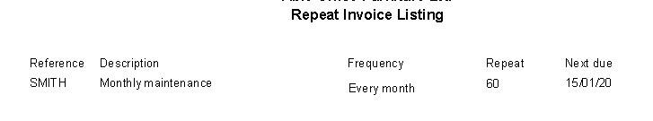 Sales Ledger - Repeat Invoices