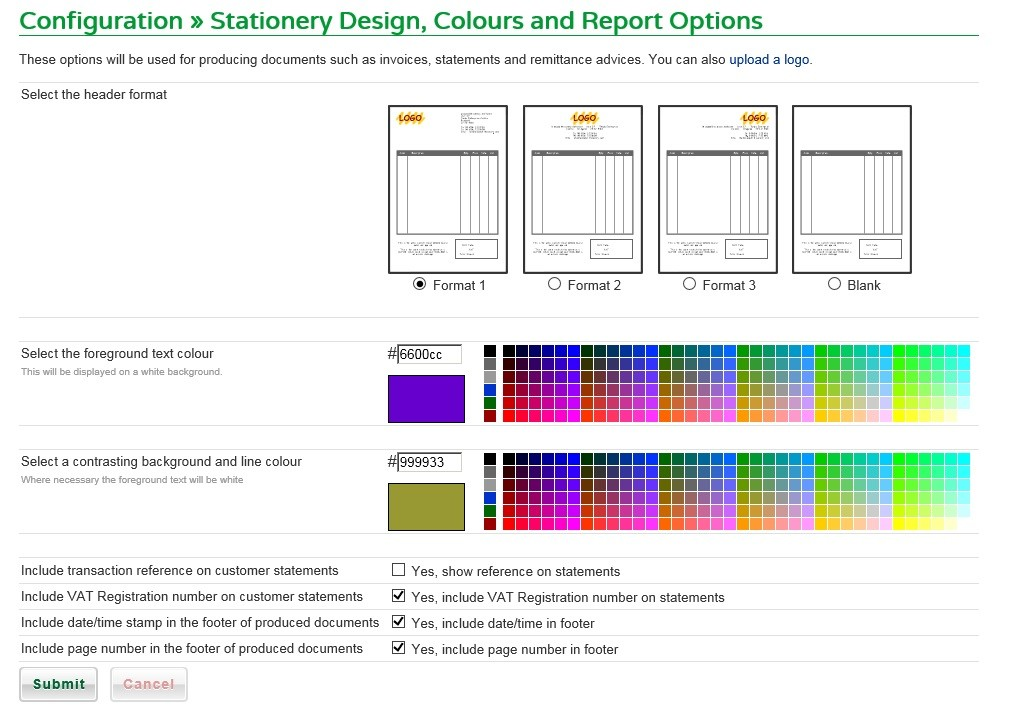 Set Stationery, Colour And Report Options