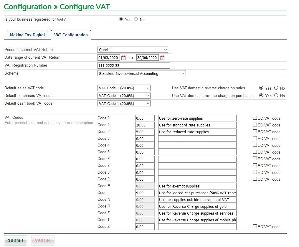 Configure VAT Schemes